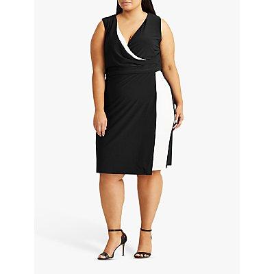 Lauren Ralph Lauren Curve Maribella Sleeveless Day Dress, Black/Lauren White