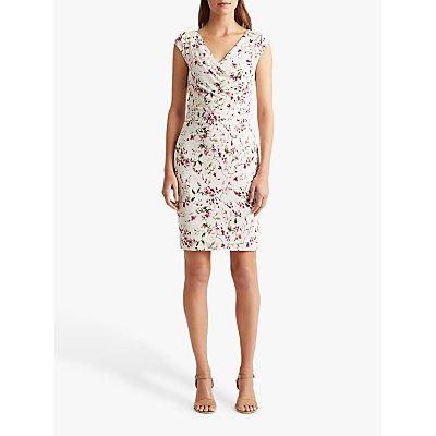 Lauren Ralph Lauren Brandie Capped Sleeve Dress, Colonial Cream/Pink