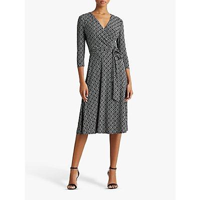 Lauren Ralph Lauren Carlyna Abstract Print Midi Dress, Black/Colonial Cream