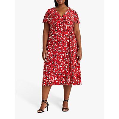 Lauren Ralph Lauren Curve Chrissy Floral Print Midi Dress, Persimmon/Charcoal/Crimson