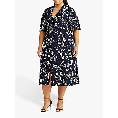 Lauren Ralph Lauren Curve Frasier Short Sleeve Floral Day Dress, Navy/Cream