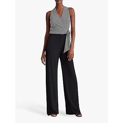 Lauren Ralph Lauren Ritanna Dogtooth Print Wide Leg Jumpsuit, Black/Colonial Cream