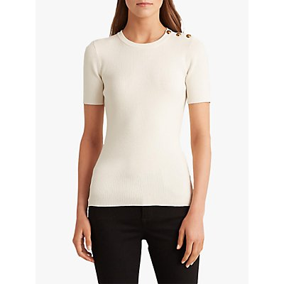 Lauren Ralph Lauren Madara Short Sleeve Button Top, Mascarpone Cream