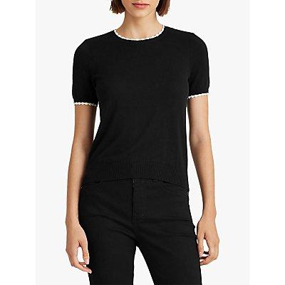 Lauren Ralph Lauren Taburka Short Sleeve Top, Polo Black/Marscapone Cream