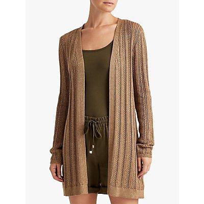 Lauren Ralph Lauren Baturka Long Sleeve Open Front Cardigan, Gold