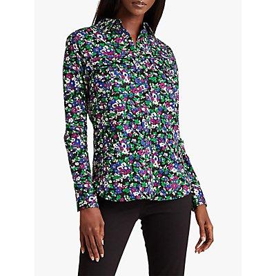 Lauren Ralph Lauren Courtenay Long Sleeve Floral Print Cotton Shirt, Multi