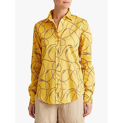 Lauren Ralph Lauren Jamelko Long Sleeve Chain Print Cotton Shirt, Dandelion Field Yellow