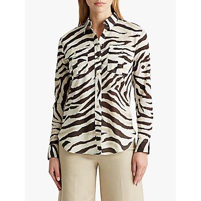Lauren Ralph Lauren Courtenay Long Sleeve Zebra Print Cotton Shirt, Dark Brown/White