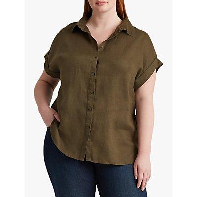 Lauren Ralph Lauren Curve Broona Short Sleeve Linen Shirt