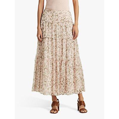 Lauren Ralph Lauren Pauldina Peasant Midi Skirt, Pink Multi