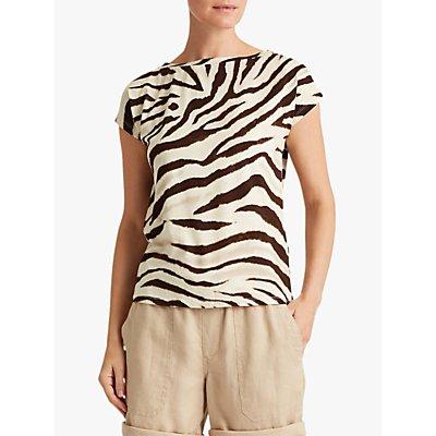 Lauren Ralph Lauren Grieta Zebra Print Top, Dark Brown/White