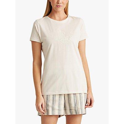 Lauren Ralph Lauren Katlin Short Sleeve Cotton Top, Mascarpone Cream