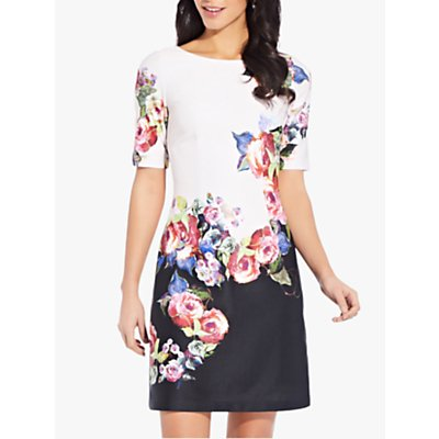 Adrianna Papell Rose Printed Floral Dress, Black/Multi