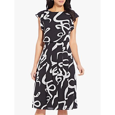 Adrianna Papell Dotted Ribbon Dress, Black/Multi