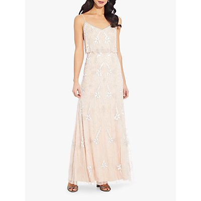 Adrianna Papell Long Beaded Floral Dress, Champagne Sand