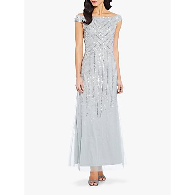 Adrianna Papell Long Beaded Dress, Frosted Sage