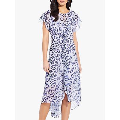 Adrianna Papell Watercolour Leopard Print Twist Dress, Purple/Multi