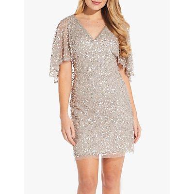 Adrianna Papell Short Beaded Dress, Marble
