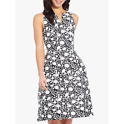 Adrianna Papell Floral Fit and Flare Dress, Black/Ivory