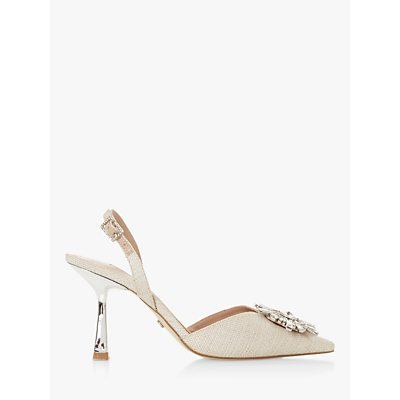 Dune Casis Brooch Fabric Slingback Heels, Natural