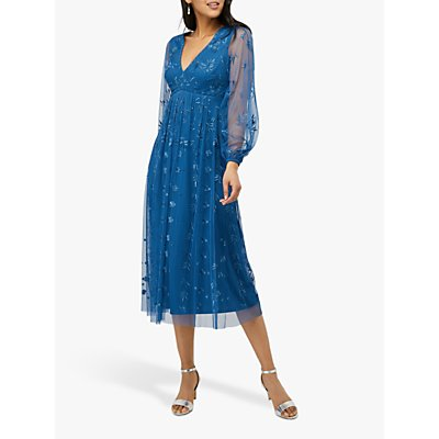 Monsoon Lucinda Embroidered Midi Dress, Blue