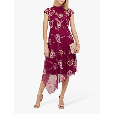 Monsoon Annelisse Embellished Floral Midi Dress, Berry