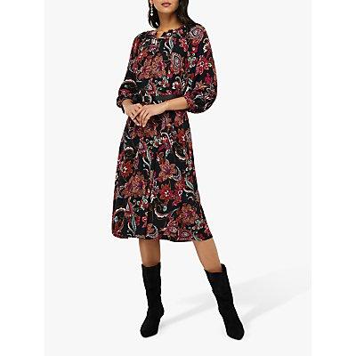 Monsoon Danny Paisley Print Midi Dress, Black
