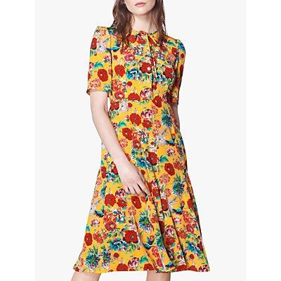 L.K.Bennett Montana Floral Print Silk Dress, Mustard/Multi