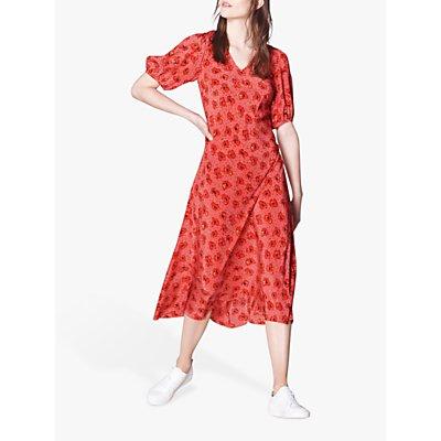L.K.Bennett Simpson Poppy Print Silk Midi Dress, Pink/Red