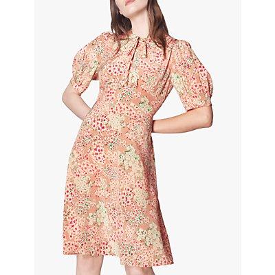 L.K.Bennett Marceau Floral Print Silk Dress, Blush/Multi