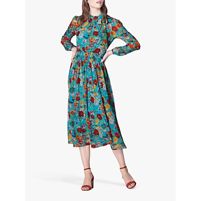 L.K.Bennett Gish Floral Silk Midi Dress, Blue/Multi