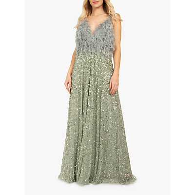 Beaded Dreams Embellised Faux Fur Bodice Maxi Dress, Lilly Green