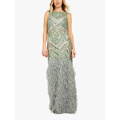 Beaded Dreams Embellised Faux Fur Maxi Dress, Lilly Green