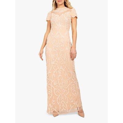 Beaded Dreams Sequin Embellised Floral Maxi Dress, Blush