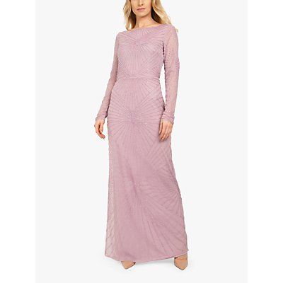 Beaded Dreams Embellished V-Back Maxi Dress, Misty Lilac