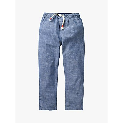 Mini Boden Boys' Summer Pull On Trousers, Mid Blue Chambray