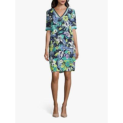 Betty Barclay Leaf Print Shift Dress, Dark Blue/Green