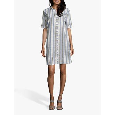 Betty Barclay Striped Oversized Shirt Dress, Cream/Bue