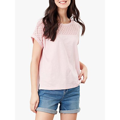 Joules Cassi Grown On Sleeve Jersey Top, Pale Pink