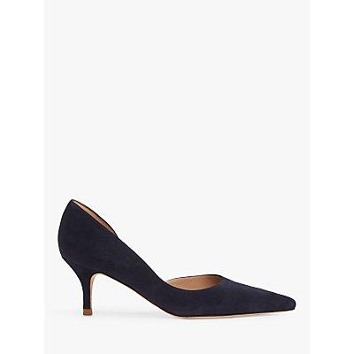 L.K.Bennett Hazel D'Orsay Suede Kitten Heel Court Shoes, Navy