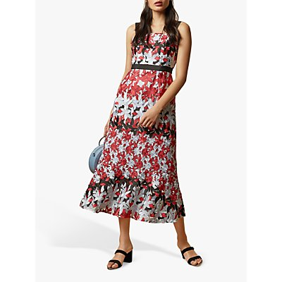 Ted Baker Telily Fishtail Lace Floral Dress, Ivory/Multi