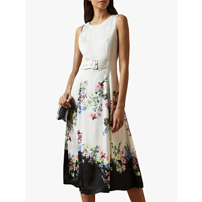Ted Baker Camylle Floral MIdi Dress, Natural Ivory