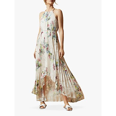 Ted Baker Threlin Floral Print Pleated Maxi Dress, Ivory