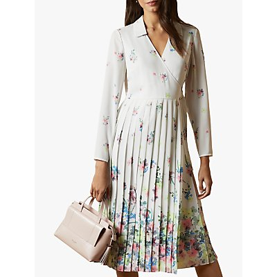 Ted Baker Ellian Pergola Long Sleeve Pleated Midi Dress, Natural Ivory