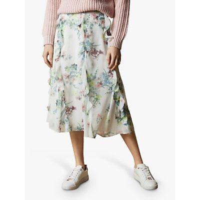Ted Baker Lurissa Floral Print Ruffle Midi Skirt, Ivory/Multi