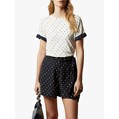 Ted Baker Joannah Spotted Print Top, Natural Ivory