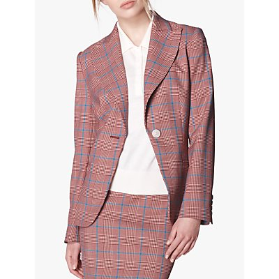L.K.Bennett Eunice Prince of Wales Check Jacket, Red/Multi