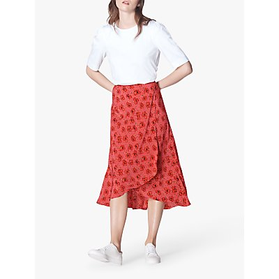 L.K.Bennett Simpson Poppy Print Ruffle Silk Midi Skirt, Red/Multi