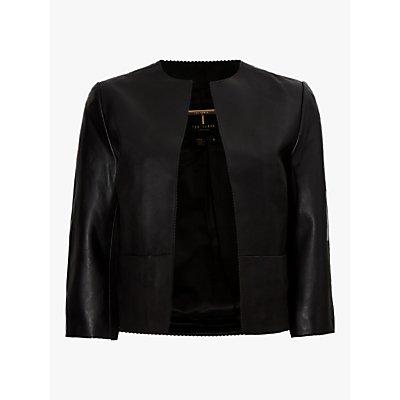 Ted Baker Morisr Leather Cropped Jacket, Black