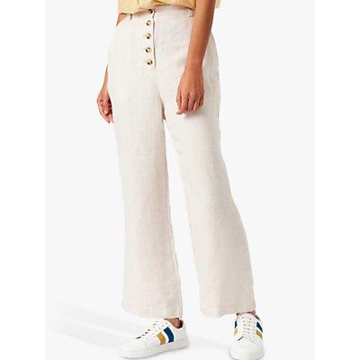 Brora Linen Wide Leg Trousers, Swan